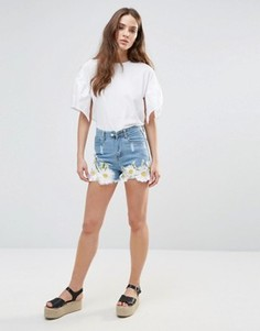 Джинсовые шорты с цветочной вышивкой Love & Other Things - Синий