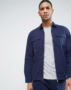 Nicce London Zip Over Shirt In Navy In Reg Fit - Темно-синий