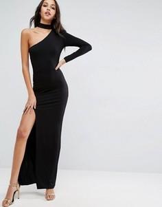 Платье макси с одним рукавом и горловиной-чокер ASOS - Черный