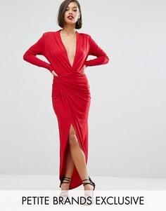 Платье макси с запахом спереди John Zack Petite - Красный