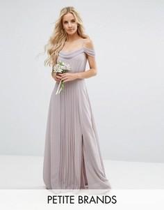 Платье макси с открытыми плечами и отделкой TFNC Petite Wedding - Серый