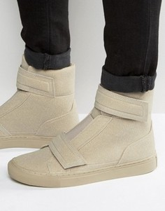 ASOS High Top Trainers In Stone Faux Suede With Straps - Stone