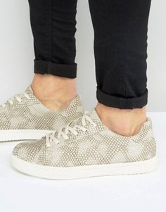 ASOS Trainers In Grey Snakeskin Effect - Серый