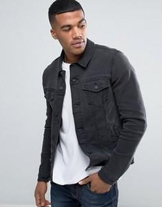 Супероблегающая джинсовая куртка выбеленного черного цвета ASOS - Черный
