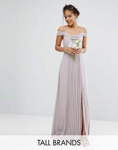 Платье макси с открытыми плечами и отделкой TFNC Tall Wedding - Серый