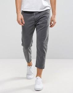 Выбеленные серые укороченные джинсы с заниженным шаговым швом Diesel Rhial 0SXQ - Серый