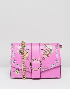 Сумка на плечо с цветочной вышивкой ASOS - Розовый