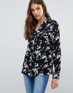 Рубашка с цветочным принтом Brave Soul - Черный