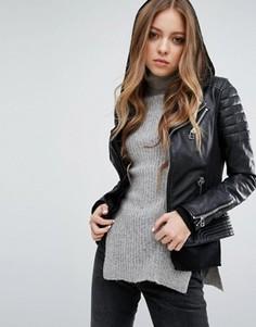 Кожаная байкерская куртка с двойной молнией и отделкой в рубчик Goosecraft - Черный