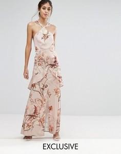 Атласное платье макси с принтом Hope & Ivy - Мульти