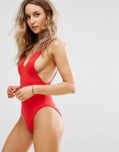 Missguided Ultimate Plunge Swimsuit - Красный