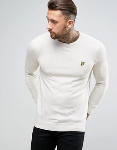 Lyle & Scott Crew Jumper Cotton Merino Knit Eagle Logo in Off White Marl - Бежевый