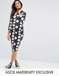 ASOS Maternity TALL Spot Midi Bodycon Dress - Черный