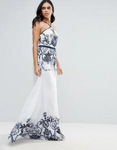 Платье с бретелью через шею и монохромным принтом Forever Unique - Мульти