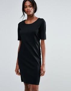 Платье-футляр миди с короткими рукавами B.Young - Черный