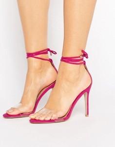 Сандалии на каблуке с прозрачным ремешком и завязкой Public Desire Leo - Розовый