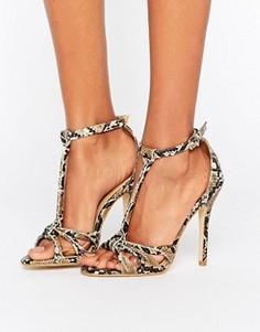 Сандалии на каблуке с эффектом змеиной кожи Public Desire Betsy - Мульти