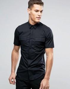 Рубашка скинни с короткими рукавами в стиле милитари Only & Sons - Черный