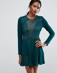 BCBGMAXAZRIA Panelled Mini Dress - Зеленый