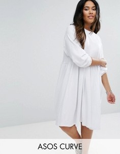 Хлопковое свободное платье с эластичными манжетами ASOS CURVE - Белый