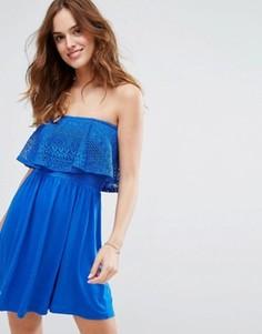 Пляжное платье с широким вырезом и отделкой кроше New Look - Синий