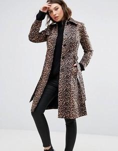 Тренч с леопардовым принтом Helene Berman - Коричневый
