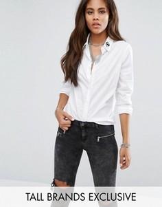 Однотонная рубашка с вышивкой на воротнике Noisy May Tall - Белый