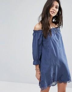 Платье с открытыми плечами и вышивкой Abercrombie & Fitch - Синий