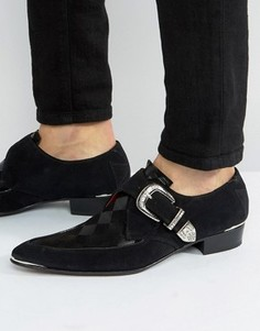Jeffery West Adam Ant Buckle Suede Shoe - Черный