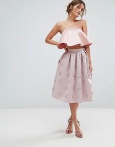 Юбка миди с 3D цветами Chi Chi London - Розовый