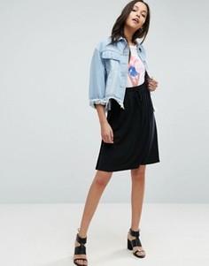 Трикотажная юбка миди с поясом на шнурке ASOS - Черный