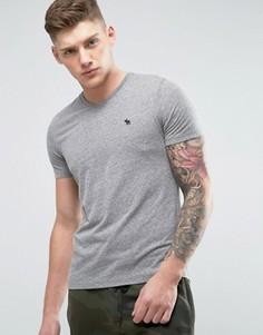 Серая меланжевая футболка с V-образным вырезом и логотипом Abercrombie & Fitch - Серый