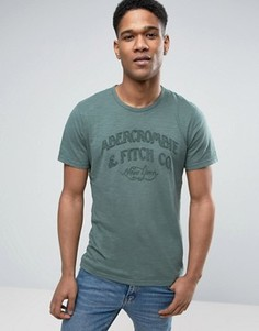 Зеленая обтягивающая футболка с логотипом Abercrombie & Fitch - Зеленый