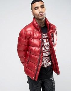 Дутая куртка с биркой сбоку Love Moschinmo - Красный