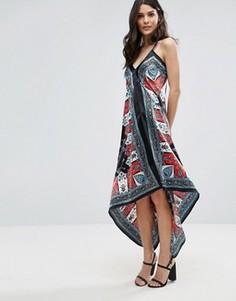 Платье с халтером и платочным принтом Jasmine - Черный