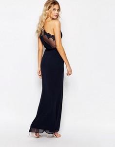 Платье макси на одно плечо с сетчатой спинкой Elise Ryan - Темно-синий