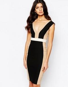 Платье-футляр миди с контрастными вставками Vesper - Мульти