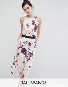 Комбинезон с юбкой-брюками и цветочным принтом Little Mistress Tall - Мульти
