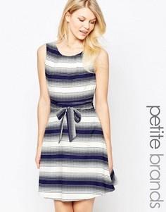 Короткое приталенное платье в полоску Yumi Petite - Темно-синий