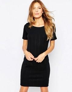 Цельнокройное платье миди с короткими рукавами Ichi - Черный