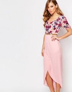 Платье миди с запахом спереди и отделкой Virgos Lounge - Фиолетовый