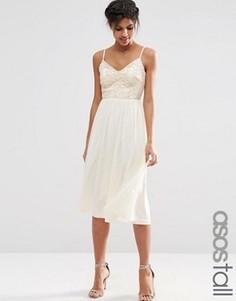 Приталенное платье миди с кружевным лифом и отделкой пайетками ASOS TALL - Бежевый
