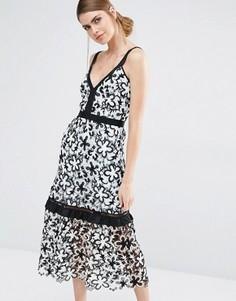 Кружевное платье миди с цветочным принтом Self Portrait - Белый