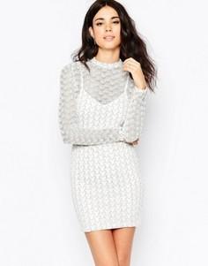 Облегающее платье с длинными рукавами и узором зигзаг Oh My Love - Белый