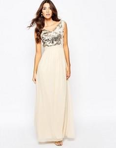 Шифоновое платье макси с широким вырезом и пайетками Little Mistress - Кремовый