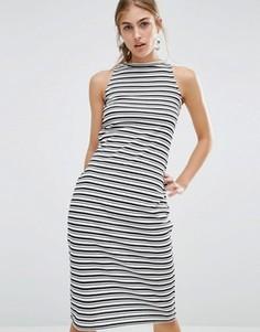 Облегающее платье миди в полоску с высокой горловиной Daisy Street - Мульти