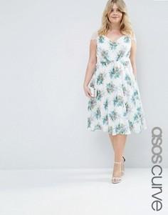 Кружевное платье миди с цветочным принтом ASOS CURVE Kate - Мульти