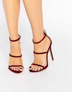 Бордовые сандалии на каблуке с ремешками Public Desire Aisha - Красный