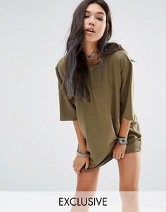 Винтажное платье в стиле милитари на пуговицах Milk It - Зеленый