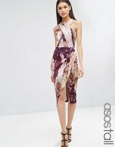 Платье-футляр с мраморным принтом ASOS TALL - Мульти